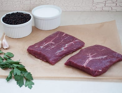 Canadian Rangeland Bison Flat Iron Steaks (Frozen)- Code#: MP824-NV