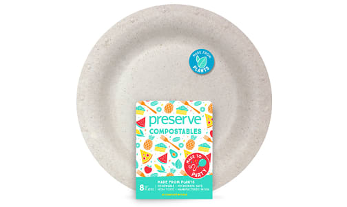 Compostable Large Plates - Natural- Code#: PC10649