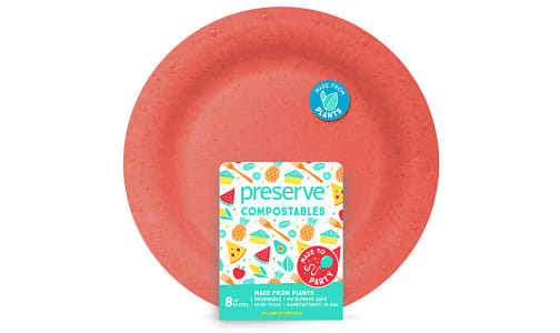 Compostable Large Plates - Red- Code#: PC10650
