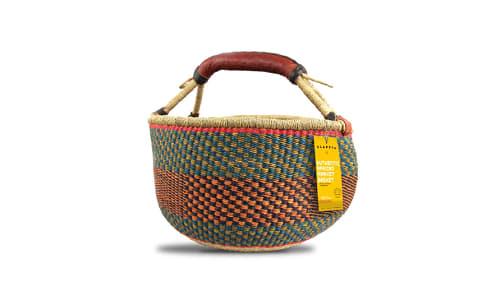 Handwoven African Basket, Round- Code#: PC410910