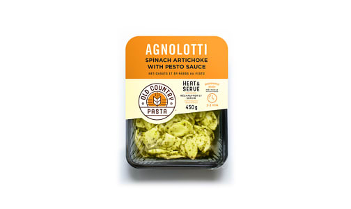 Spinach Artichoke Agnolotti with Pesto Sauce - Heat & Serve- Code#: PM158
