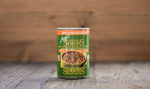 Organic Vegetable Lentil Soup - low salt - BPA Free- Code#: PM3804