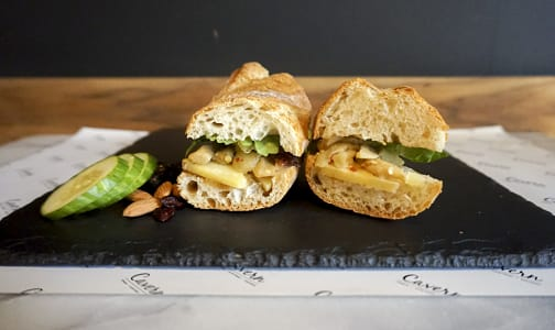 Aged Cheddar + Roasted Onion Garlic Jam + Spicy Eggplant + Greens + Baguette- Code#: PM8030