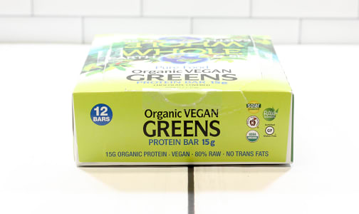 Organic Vegan Greens Protein Bars, Box- Code#: SN0901