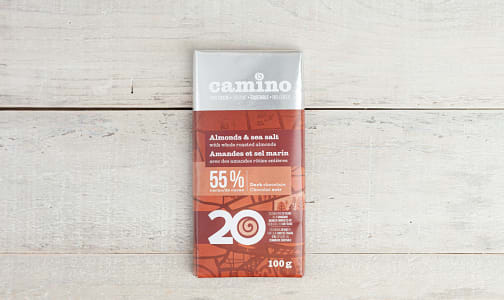 Organic Whole Almonds & Sea Salt Chocolate Bar 55%- Code#: SN1790