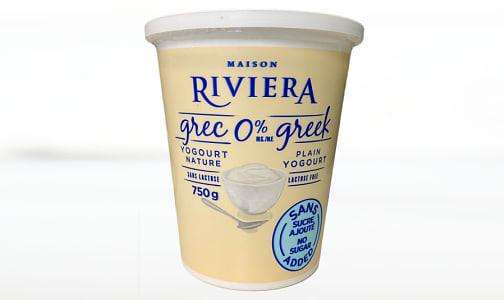 Greek Yogurt - Plain, Lactose Free, No Sugar Added, 0% MF- Code#: DA0568