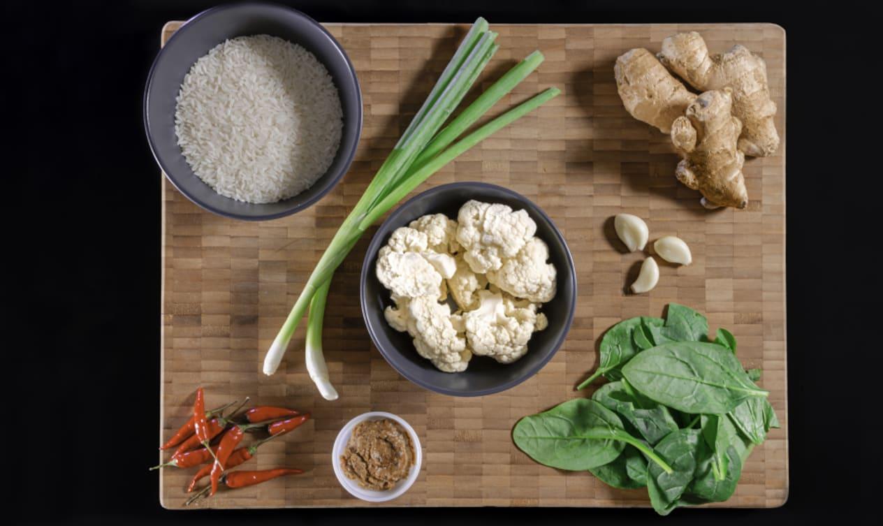 Vegan Tamarind Cauliflower with Scallion Rice and Spinach