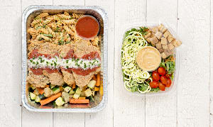 Free Run Chicken Parmesan with Rotini, Roasted Vegetables & Salad- Code#: LLK100