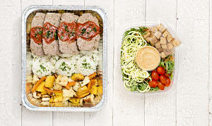 Beef Lentil Meatloaf with Mashed Potatoes, Roasted Vegetables & Salad- Code#: LLK101