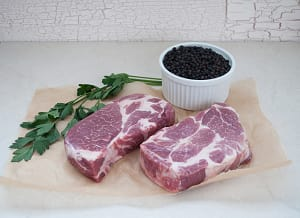 Natural Pork Shoulder Butt Steaks (Chuck Eye Steak) - 2 Steaks (Frozen)- Code#: MP061