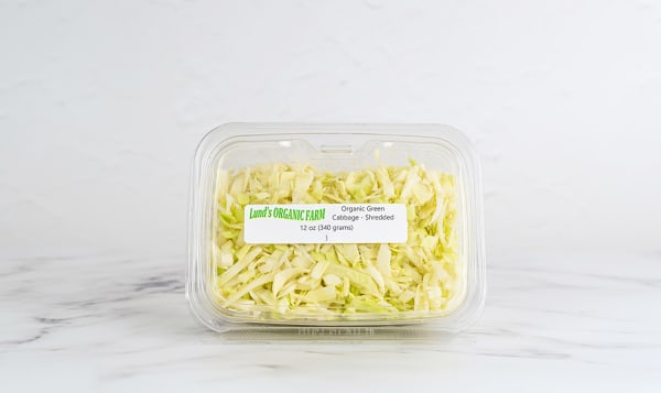 Local Organic Cabbage, Green, Shredded