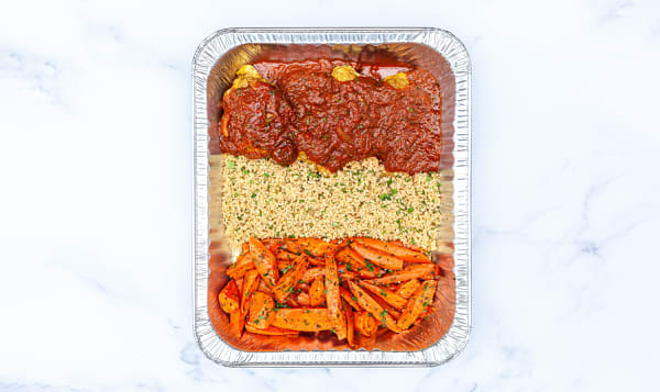 Moroccan Chicken with Spiced Cous Cous, Honey Roasted Carrots & Salad