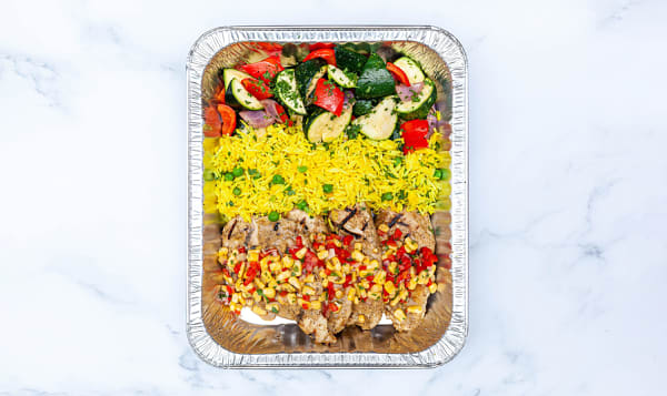 Caribbean Jerk Chicken with Roasted Vegetables, Basmati Rice & Salad