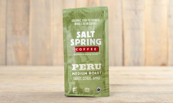 Organic Peru Medium Roast Coffee, Whole Bean