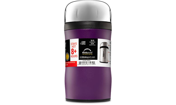 Insulated Food Container With Spork - Purple