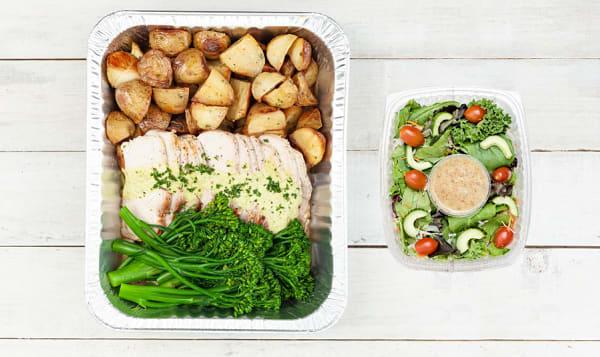 Mojo Pork Loin with Roasted Potatoes and Chili Glazed Broccolini & Salad