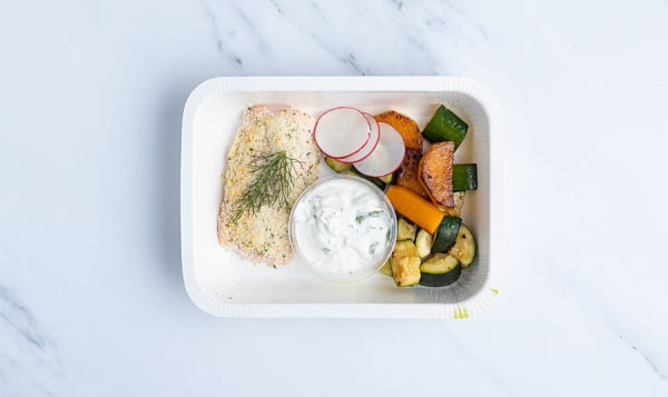 Keto Crusted Salmon with Roasted Seasonal Vegetables