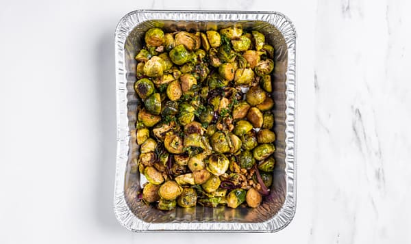 Organic Roasted Brussel Sprouts, Balsamic and Toasted Walnuts