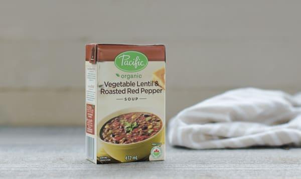 Hearty Vegetable, Lentil & Roasted Red Pepper Soup