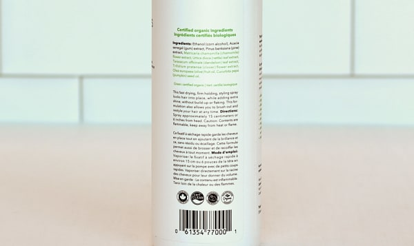 Organic Unscented Hair Spray