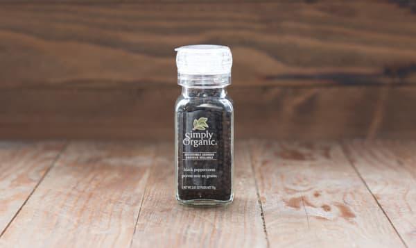 Organic Black Peppercorns in Glass Bottle with Adjustable Grinder