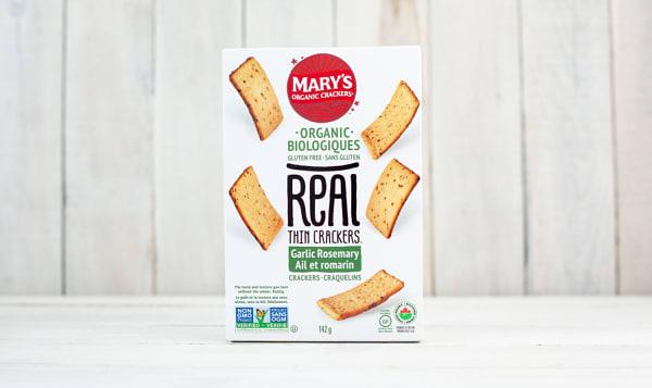Organic REAL Thin Crackers, Garlic Rosemary