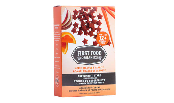 Organic Superfruit Stars:  Apple, Orange & Carrot