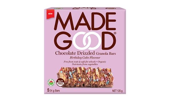 Organic Chocolate Drizzled Birthday Cake Granola Bars